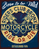Motorcycle label t-shirt design with illustration of custom chop Royalty Free Stock Photography