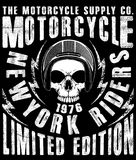 Motorcycle label t-shirt design with illustration of custom chop Stock Image