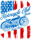 Motorcycle label t-shirt design with illustration of custom chop Royalty Free Stock Images