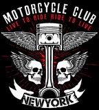 Motorcycle label t-shirt design with illustration of custom chop Royalty Free Stock Image