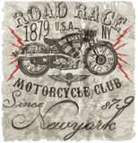 Motorcycle label t-shirt design with illustration of custom chop Royalty Free Stock Photo