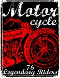 Motorcycle label t-shirt design with illustration of custom chop. Per art fashion Royalty Free Stock Image