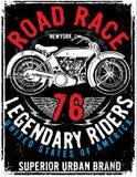 Motorcycle label t-shirt design with illustration of custom chop. Per art fashion Stock Image