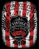 Motorcycle label t-shirt design with illustration  Stock Photos
