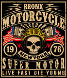 Motorcycle label t-shirt design with illustration of custom  Stock Image