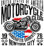 Motorcycle label t-shirt design with illustration of custom chopper Royalty Free Stock Images