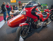Motorcycle Laverda RGS, with a sidecar Carell-Shoo, 1983. STUTTGART, GERMANY - MARCH 18, 2016: Motorcycle Laverda RGS, with a sidecar Carell-Shoo, 1983. Europe' stock photography