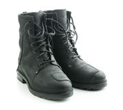 Motorcycle leather boots. Stock Photography