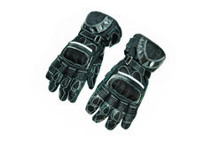 Motorcycle leather gloves. Leather motorcycle racing gloves with carbon fiber protection. Isolated stock photo