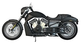 Motorcycle Left Side. Left side view of highly detail motorcycle with white background Royalty Free Stock Photo