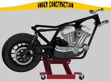Motorcycle on a lift in assembling process Stock Photography