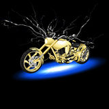 Motorcycle with lightning Stock Images