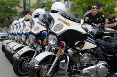 Motorcycle. Lined up police motorcycles at the 2013 Peroia IL Marathon Royalty Free Stock Photography