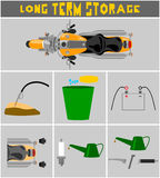 Motorcycle long term storage preparation procedure poster Royalty Free Stock Photography