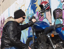 Motorcycle Man Stock Images