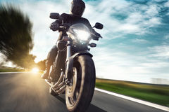 Motorcycle. Man on a very fast motorcycle Royalty Free Stock Photos