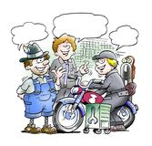 Motorcycle mechanics share their experiences. Motorcycle mechanics share their know how stock illustration