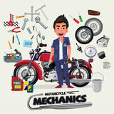 Motorcycle mechanics with tool kit. character design - vector. Illustration stock illustration