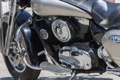 Motorcycle , metal and chrome engine parts Stock Photo