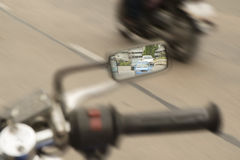 Motorcycle mirror. Royalty Free Stock Image