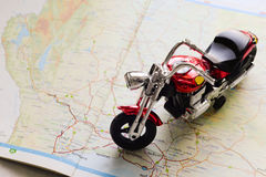 Motorcycle model on map Stock Photo