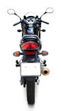 Motorcycle. Modern black motorcycle back view over white background, very detailed and complete with separate clipping paths for mirrors and windshield, license royalty free stock photos
