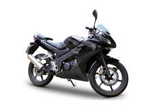 Motorcycle. Modern black motorcycle side view over white background, very detailed and complete with clipping paths royalty free stock image