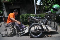 Motorcycle modification for people with disabilities Royalty Free Stock Photo
