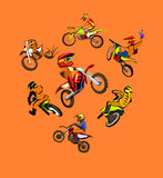 Motorcycle motocross set Royalty Free Stock Photo