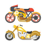 Motorcycle motorbike flat vector icons set Royalty Free Stock Photo