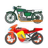 Motorcycle motorbike flat vector icons set Royalty Free Stock Photos