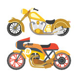 Motorcycle motorbike flat vector icons set Stock Photos