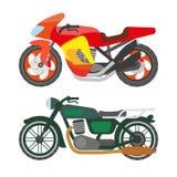 Motorcycle motorbike flat vector icons set Stock Image