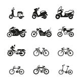 Motorcycle, motorbike, scooter, chopper and bicycle vector silhouette icons Stock Images