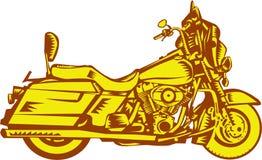 Motorcycle Motorbike Woodcut Stock Photo