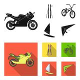 Motorcycle, mountain skiing, biking, surfing with a sail.Extreme sport set collection icons in black, flat style vector. Symbol stock illustration Royalty Free Stock Photography