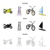 Motorcycle, mountain skiing, biking, surfing with a sail.Extreme sport set collection icons in cartoon,black,outline. Style vector symbol stock illustration Stock Photo
