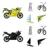 Motorcycle, mountain skiing, biking, surfing with a sail.Extreme sport set collection icons in cartoon,black style. Vector symbol stock illustration Royalty Free Stock Image