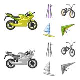 Motorcycle, mountain skiing, biking, surfing with a sail.Extreme sport set collection icons in cartoon,monochrome style. Vector symbol stock illustration Royalty Free Stock Photos