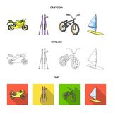 Motorcycle, mountain skiing, biking, surfing with a sail.Extreme sport set collection icons in cartoon,outline,flat. Style vector symbol stock illustration Royalty Free Stock Photos