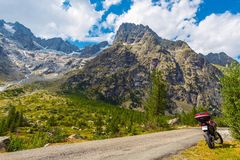 Motorcycle Mountain Trip. Mountain Road Summer Journey on a motorcycle royalty free stock photo