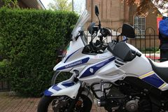 Motorcycle of the municipality enforcement officer of Zuidplas in the Netherlands parked in Zevenhuizen. Motorcycle of the municipality enforcement officer of stock photography