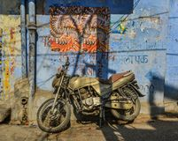 A motorcycle at old town in Jodhpur, India royalty free stock photography