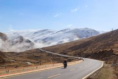 Free Motorcycle On The Road, Beautiful Winter Road In Tibet Under Snow Mountain, Sichuan, China Royalty Free Stock Photo - 157182365