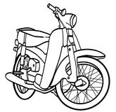 Motorcycle. Outline of an old school Motorcycle with great details of illustration Stock Images