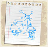 Motorcycle on paper note, vector illustration Royalty Free Stock Image