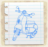 Motorcycle on paper note, vector illustration Royalty Free Stock Photos