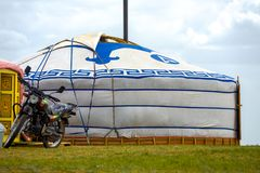 Parked Motorcycle Outside Door Mongolian Yurt Tent Royalty Free Stock Image