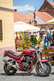 Motorcycle. Parked on a street in Sibiu city, Romania Royalty Free Stock Photography