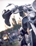 Motorcycle parked while traveling,. Dries biker shoe stock photos